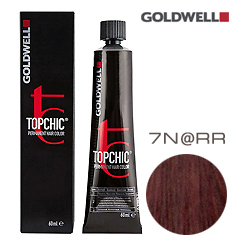 Goldwell Topchic 7N@RR - Стойкая краска для волос Блонд с интенсивно-красным сиянием 60 мл