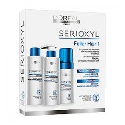 L'Oreal Professionnel Serioxyl Fuller Hair Kit 1 - Набор средств для уплотнения натуральных волос 250+250+125 мл