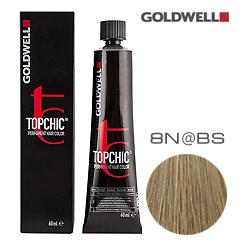 Goldwell Topchic 8N@BS - Стойкая краска для волос Светлый блонд с бежево-серебристым сиянием 60 мл