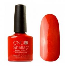 CND Shellac Гель-лак для ногтей Fine Vermilion 7,3 мл насыщенный красно-оранжевый, с микроблеском.