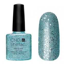 CND Shellac Glacial Mist - Гель-лак для ногтей 7,3 мл холодный голубой оттенок с крупными и мелкими блестками