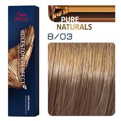Wella Koleston Perfect ME+ Pure Naturals - Крем-краска для волос 8/03 Янтарь 60 мл