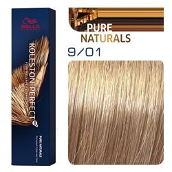 Wella Koleston Perfect ME+ Pure Naturals - Крем-краска для волос 9/01 Очень светлый блонд песочный 60 мл