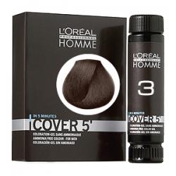 L'Oreal Professionnel HOMME Cover 5 №3 - Тонирующий гель Естественное тонирование седины (Темный шатен) 3 х 50 мл