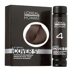 L'Oreal Professionnel HOMME Cover 5 №4 - Тонирующий гель Естественное тонирование седины (Шатен) 3 х 50 мл