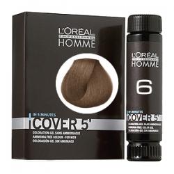 L'Oreal Professionnel HOMME Cover 5 №6 - Тонирующий гель Естественное тонирование седины (Темный блондин) 3 х 50 мл
