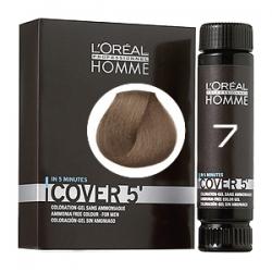 L'Oreal Professionnel HOMME Cover 5 №7 - Тонирующий гель Естественное тонирование седины (Блондин) 3 х 50 мл