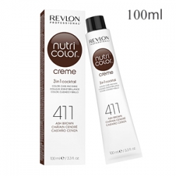 Revlon Professional Nutri Color Creme 411 Ash Brown - Крем-краска тон Холодный коричневый 100 мл