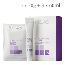 Revlon Professional Gentle Meches System - Система для безаммиачного мелирования 3 тюбика х 60 мл и 5 пакетиков х 50 гр