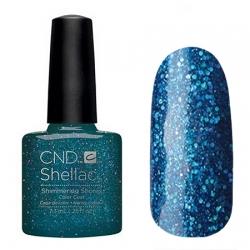 CND Shellac Shimmering Shores - Гель-лак для ногтей 7,3 мл темно-синий оттенок с искрящимися блестками