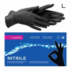 MediOK - Перчатки нитриловые неопудренные - Черные размер L 100шт / 50пар